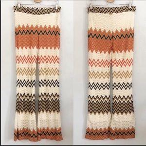 SIGNATURE STUDIO Crochet Knit Chevron Flared Pants